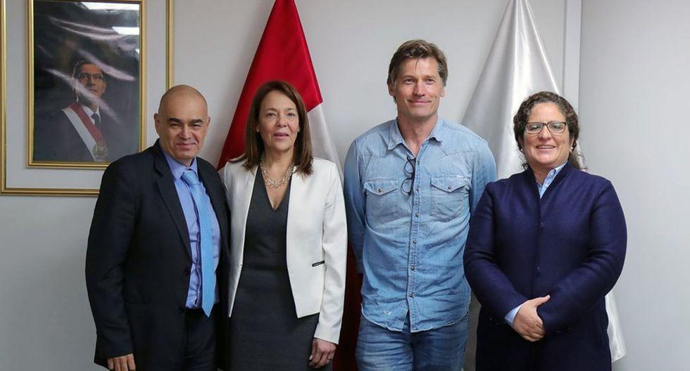 """Nikolaj Coster-Waldau, actor de """"Game of Thrones"""", también se reunió con la ministra del Ambiente. (Foto: Ministerio del Ambiente)"""