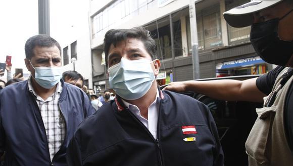 """Pedro Castillo también descartó que vaya a participar en algunas de las movilizaciones que se vienen convocando en Lima porque """"ya no es tiempo de campaña"""". (Foto: Geraldo Caso / @photo.gec)"""