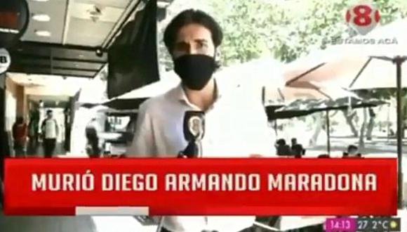 ¿El peor despacho sobre la muerte de Maradona? El singular momento que pasó un reportero argentino se volvió viral en las redes sociales. (Foto: @Sanguchettti / Twitter)