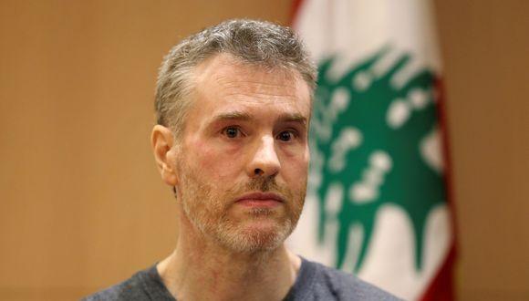 El ciudadano canadiense, Kristian Lee Baxter, que estaba detenido en Siria, observa durante una conferencia de prensa, después de ser liberado, en Beirut, Líbano, el 9 de agosto de 2019. (Foto: REUTERS / Mohamed Azakir).