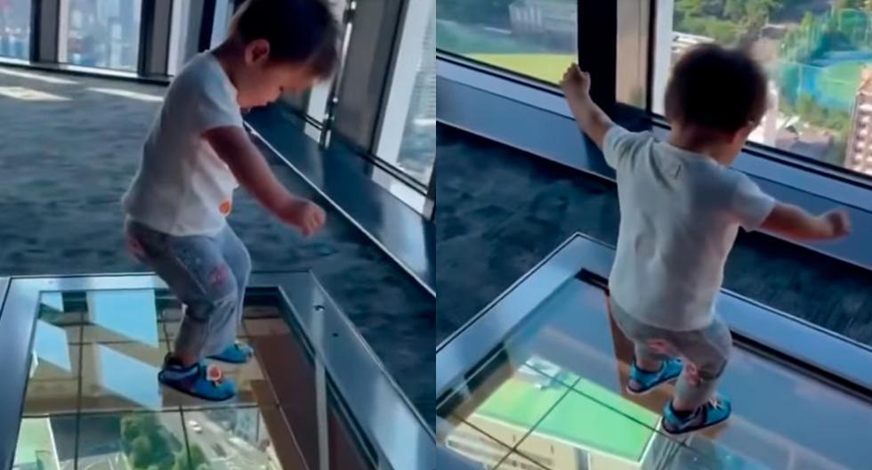 ¡Se congeló de pánico! Esta es la increíble reacción de un niño al caminar por un suelo de cristal