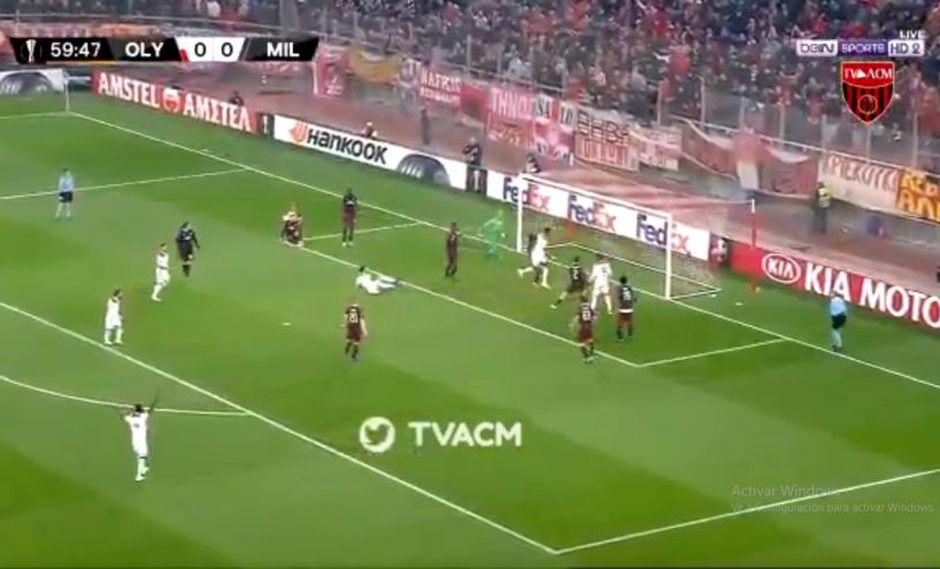 Pape Abou Cissé abrió el marcador en el AC Milan vs. Olympiacos por Europa League. El duelo se disputó en el Estadio Karaïskákis (Foto: captura de pantalla)