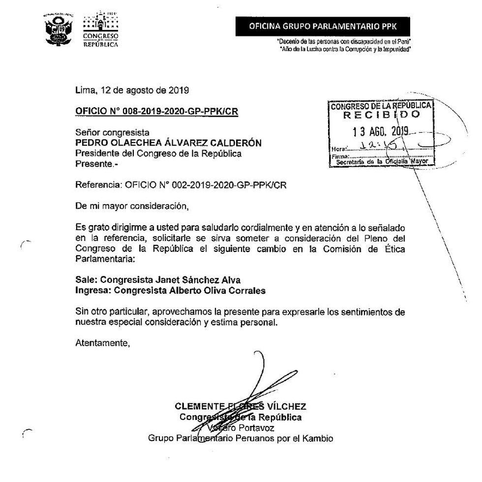Oficio enviado por Clemente Flores a Pedro Olaechea.