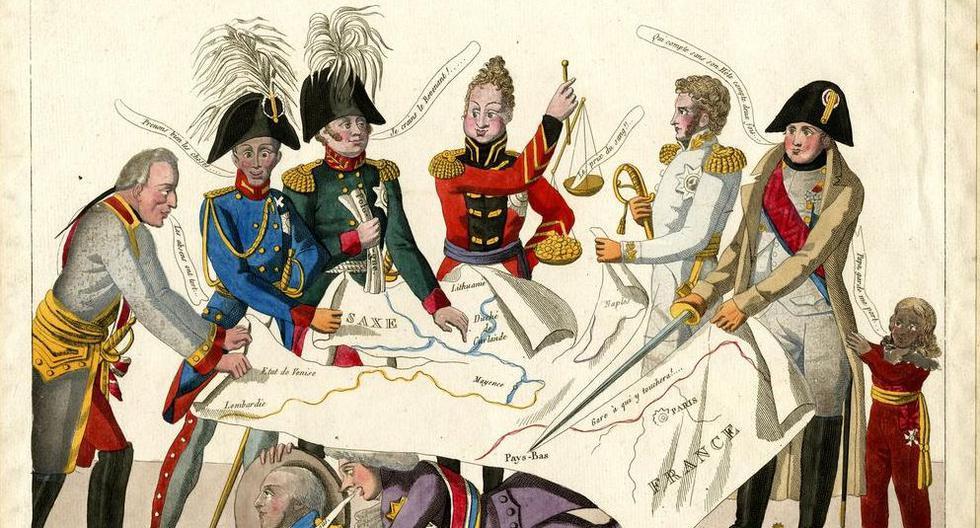 El pastel de reyes, dibujado en el Congreso de Viena en 1815.