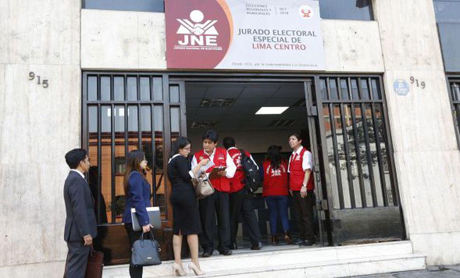 El JEE Lima Centro se encargará de atender las solicitudes de inscripción para los aspirantes a la Alcaldía de Lima. (Foto: JNE)