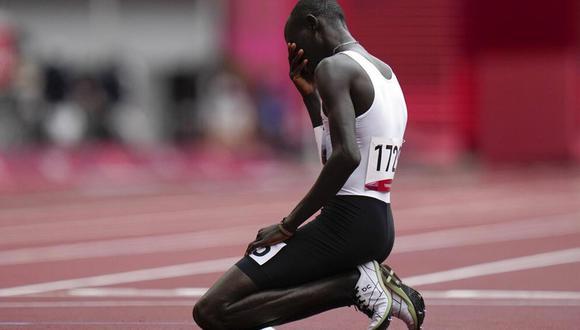 James Chiengjiek, el atleta originario de Sudán del Sur que emocionó al mundo en Tokio 2020   Foto: AFP.