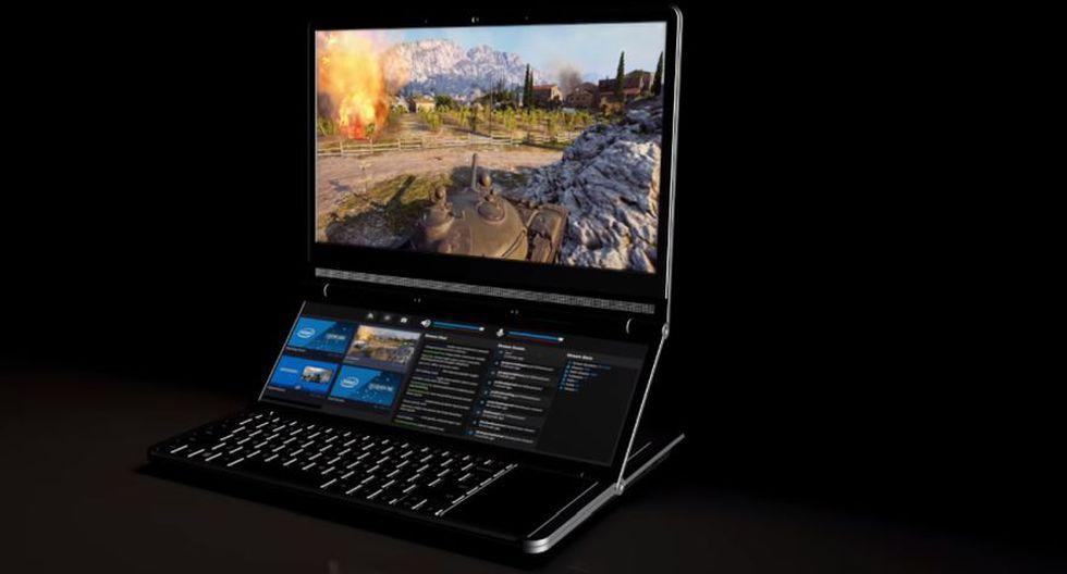 Este diseño evita que la laptop sea más grande que una con diseño tradicional, aunque sí será más gruesa, para acomodar el hardware y las dos pantallas(Foto: Intel)