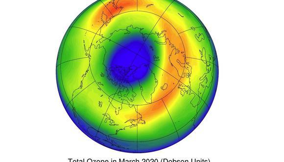 Agujero de ozono en el Ártico de 2020. (YAN XIA)