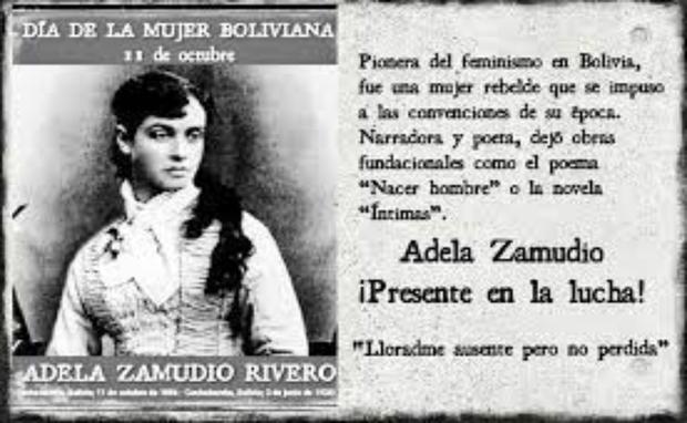 Esta fecha fue establecida en homenaje al nacimiento a Adela Zamudio Ribero, escritora, maestra, poetisa y luchadora social por las mujeres boliviana. (Foto: Redes)