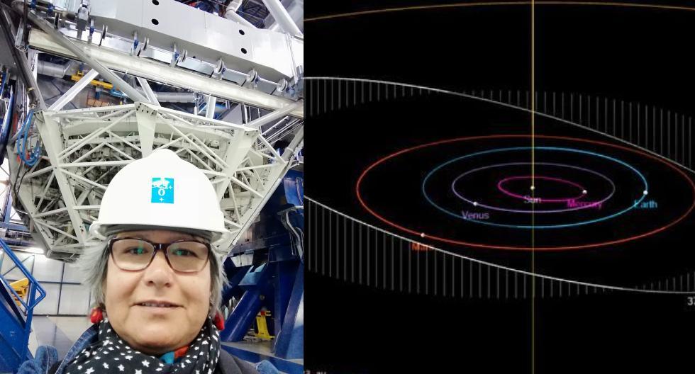 """El asteroide nombrado en honor a la doctora Myriam Pajuelo orbita dentro de nuestro sistema solar, entre Marte y Júpiter. """"Es un honor, es una alegría"""", dice a Somos luego del reconocimiento al que fue nominada por sus colegas. En la foto, posa junto a Yepun, uno de los telescopios del VLT (Very Large Telescope) de la ESO (European Southern Observatory). (Foto: Archivo personal)"""