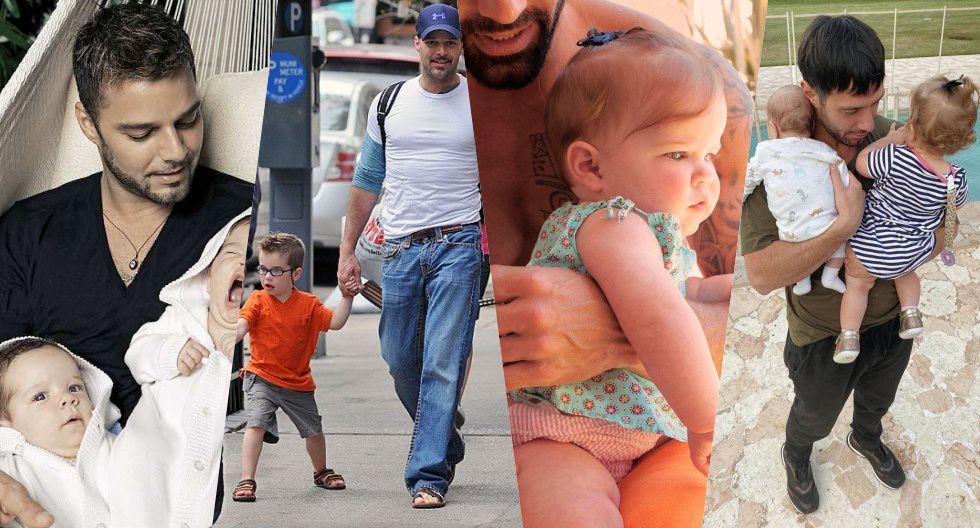De izquierda a derecha: Ricky Martin junto a sus mellizos cuando eran bebés y Jwan Yosef en compañía de Lucía y Renn, los menores de la familia.