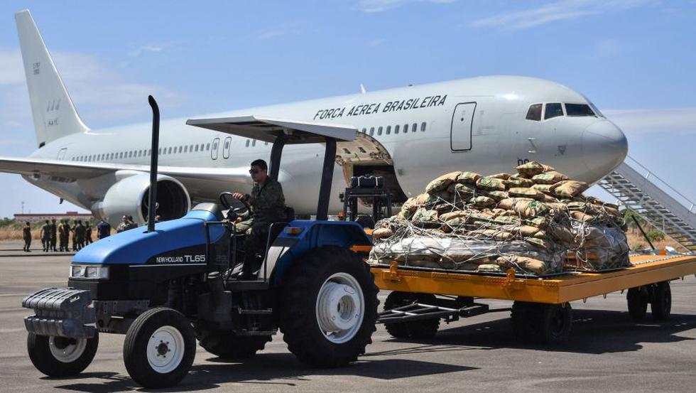 Avión militar de Estados Unidos llega a Brasil con ayuda para Venezuela   FOTOS. (AFP)