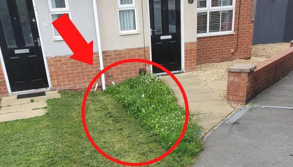 Esta foto viral muestra la mezquindad de un vecino al momento de podar el césped de un jardín compartido con la casa de al lado. (Crédito: @Chialton en Twitter)