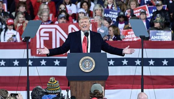 El presidente de Estados Unidos, Donald Trump, pronuncia un discurso en Georgia.  (EFE/EPA/STAN BADZ).