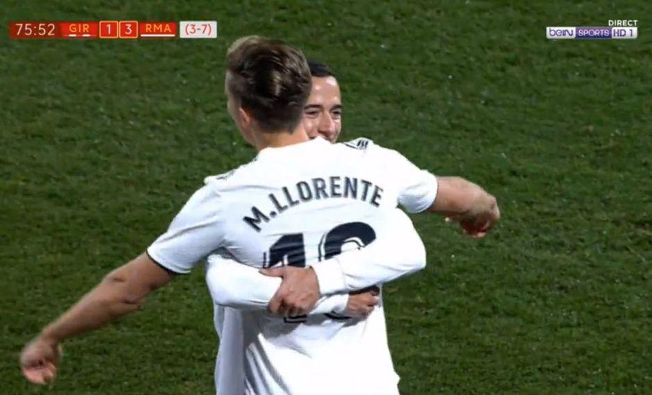 Marcos Llorente fue el encargado de marcar el tercer gol del Real Madrid sobre el Girona. (Foto: Captura).