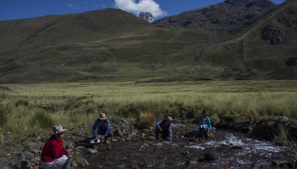 Miembros del  Comité de Investigacion Agropecuaria Local (CIAL) de la comunidad Cordillera Blanca, analizan las aguas del rio Quillok uno de los cuatro afluentes del rio Negro. (Foto: Omar Lucas)