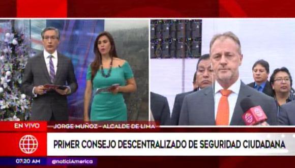 Alcalde Jorge Muñoz participa del primer consejo descentralizado de seguridad ciudadana. (Captura: América Noticias)