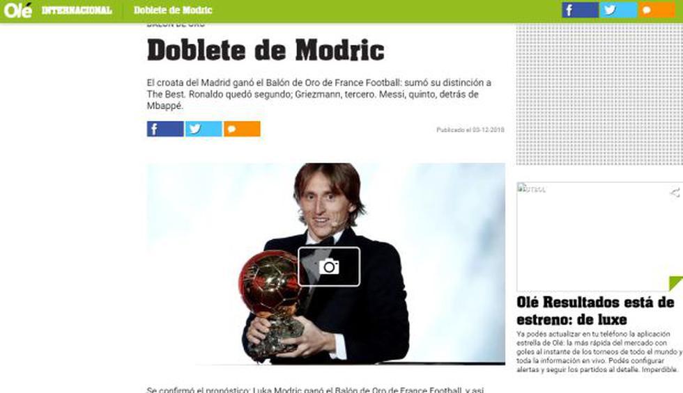 Balón de Oro 2018: reacciones de los principales medios del mundo tras el anuncio de Luka Modric como el ganador del trofeo | Foto: captura