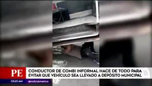 Surco: chofer se metió debajo de combi para evitar que lleven vehículo al depósito