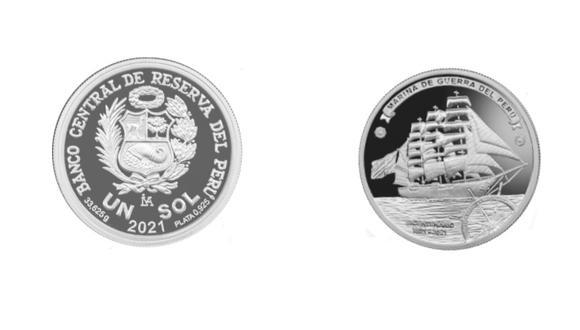 La moneda conmemora el bicentenario de la Marina. (Foto: BCR)