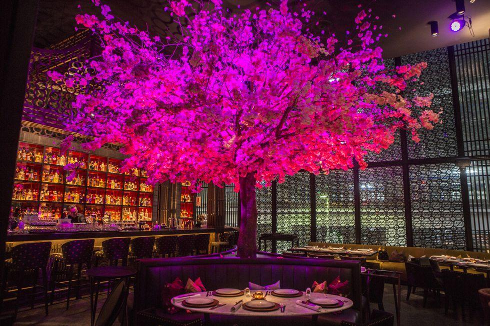 Un imponente árbol de cerezo ha sido diseñado para ser el centro del ambiente. La decoración estuvo a cargo de Coco Moore, Melissa León de Peralta y Jordi Puig.
