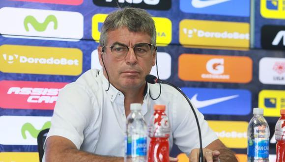 Pablo Bengoechea en su última conferencia de prensa como técnico de Alianza Lima. (Foto: Juan Ponce / El Comercio)