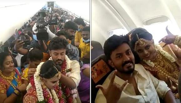 India: pareja celebra su boda en el aire en un avión repleto de invitados para evitar las reglas de encierro. (Foto: Tahir Ibn Manzoor / SWNS).