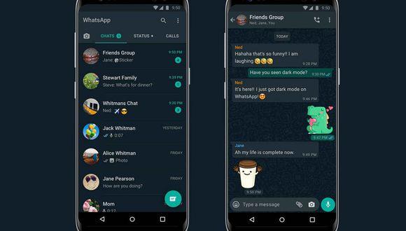 WhatsApp anunció su nuevo modo oscuro. (Foto: WhatsApp)