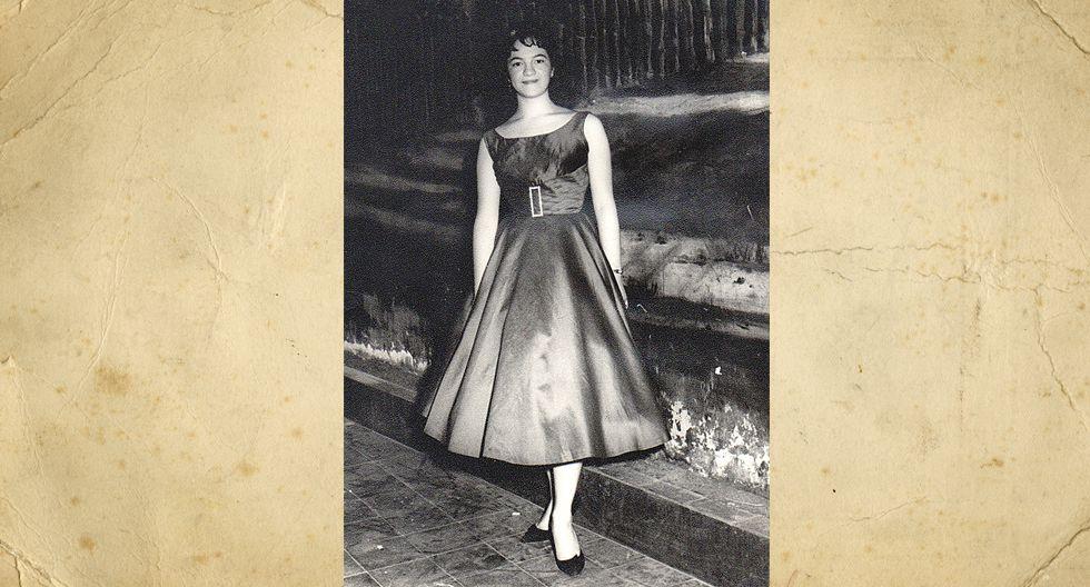 Doris Salcedo de Vidal. En la foto tenía 20 años y era estudiante de Ciencias Económicas de la PUCP. Hoy tiene 79 años y 55 años de feliz matrimonio.