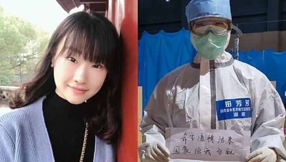 La enfermera soltera se llamada Tian Fangfang y en pocos días se ha vuelto viral por su peculiar pedido al estado Chino (Foto: Tian Fangfang/Weibo)