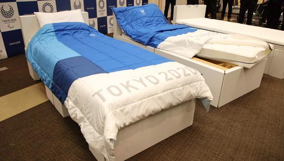 Estas camas fueron fabricadas por la compañía Airweave para unos Juegos deseosos de reducir su impacto ecológico. (Foto: AFP)