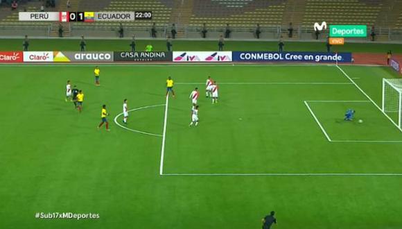 Perú vs. Ecuador: el gol del 'Tri' para el 1-0 tras floja respuesta de Sandi. (Foto: captura)