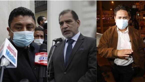De izquierda a derecha, el congresista Guillermo Bermejo, el ministro del Interior Luis Barranzuela y el fundador de Perú Libre (PL) Vladimir Cerrón.