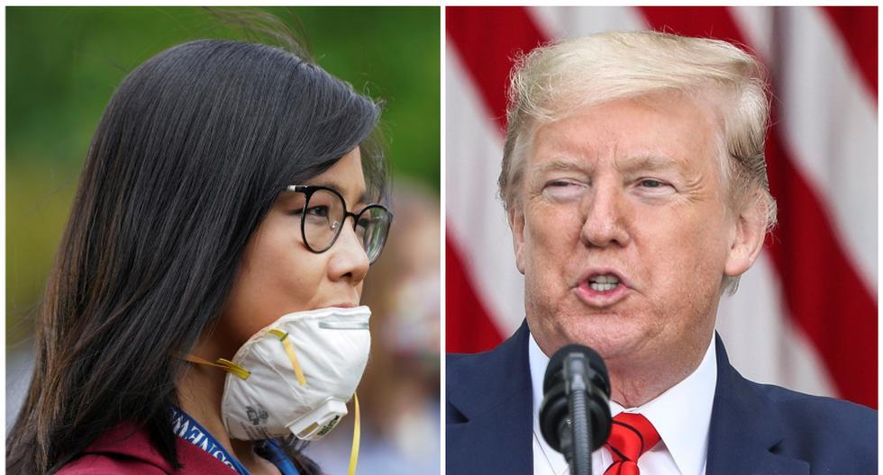 """""""Tal vez sea una pregunta que deberían hacerle a China"""", respondió Donald Trump a Weijia Jiang, corresponsal de la Casa Blanca para CBS News, quien nació en China y emigró a los Estados Unidos cuando tenía dos años. (Foto: Reuters / Kevin Lamarque / EFE/ Oliver Contreras)."""