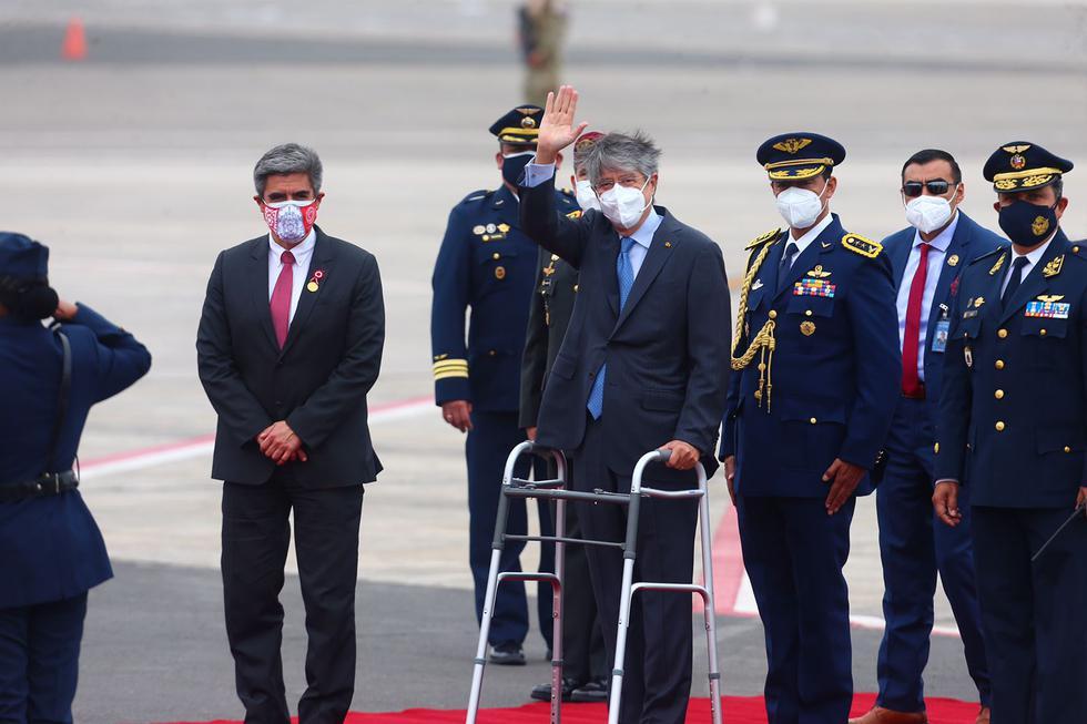 El presidente de Ecuador, Guillermo Lasso, arribó al Perú para participar de la juramentación del presidente electo Pedro Castillo este miércoles 28 de julio. (Foto: Hugo Curotto / @photo.gec)