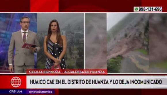 Caída huaicos deja incomunicados a siete distritos. (Captura: América Noticias)
