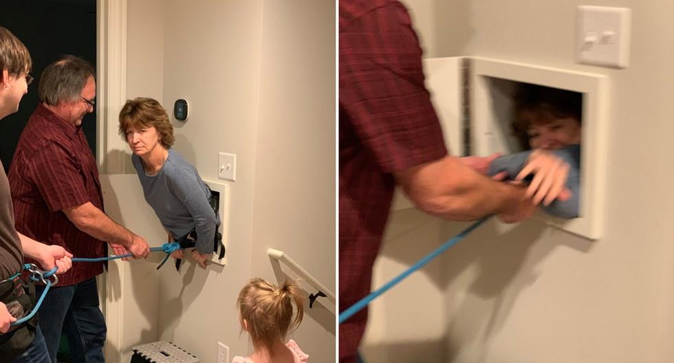 Atando un arnés de seguridad a su madre, el protagonista de la historia logró deslizarla por la tolva de lavado para que abriera la puerta desde el interior. (Foto: Jon Wenzel en Facebook)