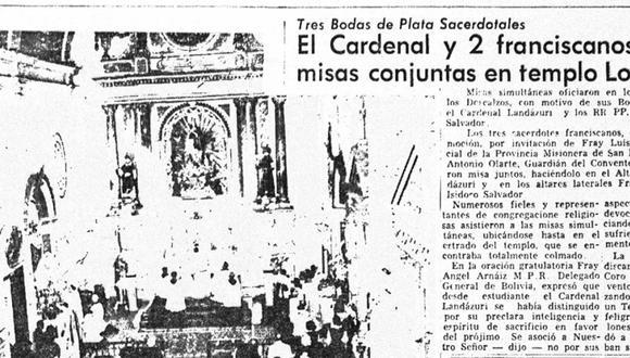 Imagen publicada en la portada de El Comercio en donde observamos a los tres sacerdotes oficiando misas simultáneas en una Iglesia de los Descalzos totalmente repleta de feligreses. (Foto: GEC Archivo Histórico)