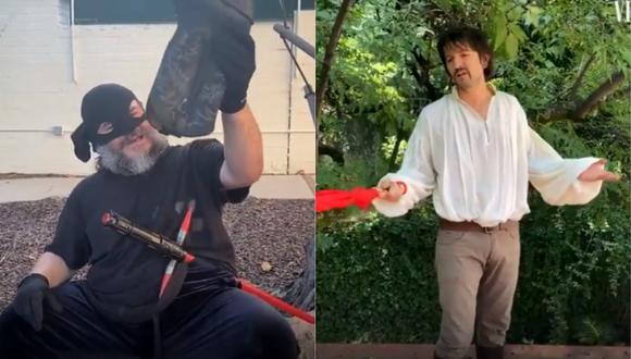 """Diego Luna y Jack Black recrearon escena de la película """"The Princess Bride"""". (Foto: Captura Twitter)"""