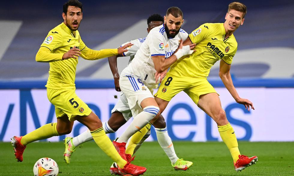 Real Madrid y Villarreal chocaron en un duro encuentro disputado en el Santiago Bernabéu. | Foto: AFP