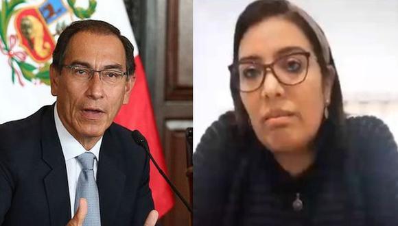 Karem Roca, en un audio difundido la noche del lunes, acepta que es la autora de las grabaciones que implican al presidente Vizcarra. (Composición: GEC/Congreso)