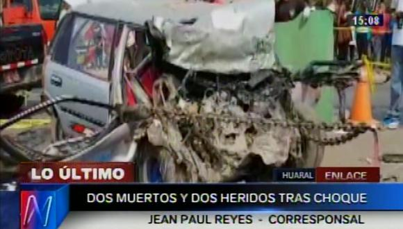 Huaral: tres personas mueren en choque frontal de automóviles