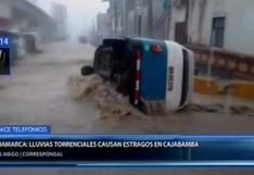 Cajamarca: lluvias torrenciales en Cajabamba inundaron casas y arrastraron vehículos