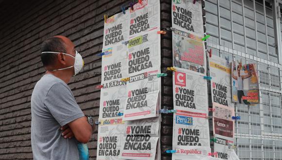 Entre los diarios que aparecieron con el hashtag #YoMeQuedoEnCasa en su portada, figuran los deportivos Depor, Líbero, El Bocón, así como El Comercio, Correo, Gestión, Perú21, Trome, entre otros medios. (Foto: GEC)