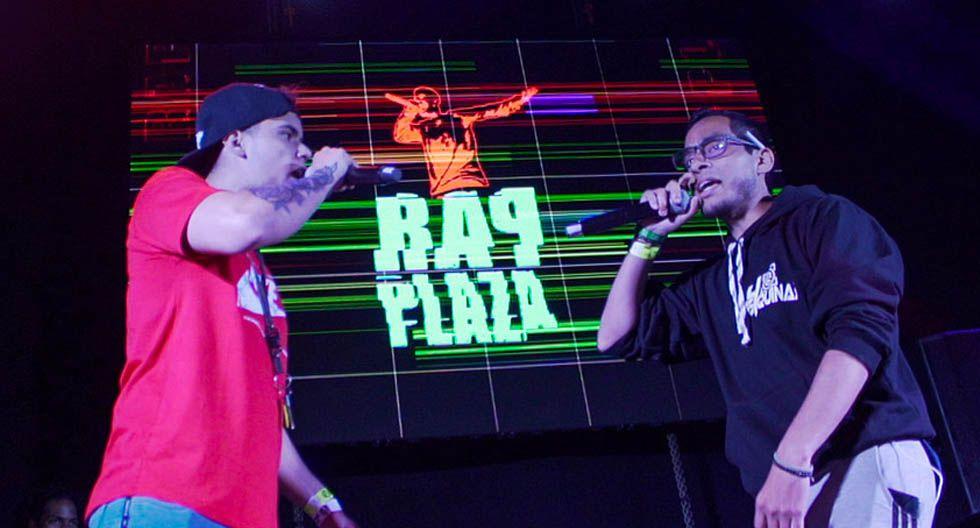 Raptor, del colectivo Stylestreet, y Aaron Navarro, de Es4quinas, en acción.  (Foto: Rap Plaza)