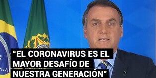 """Bolsonaro reconoce que el coronavirus es el """"mayor desafío"""" de Brasil"""