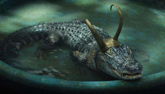 Loki Lagarto, también llamado 'Cocodriloki', tomando un refrescante baño. Foto: Marvel Studios.