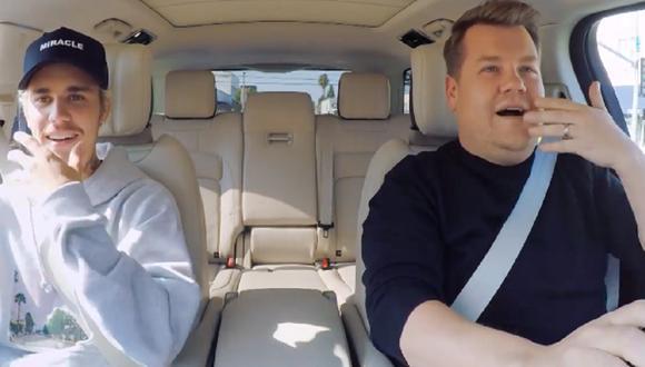"""Justin Bieber fue el invitado de James Corden en el """"Carpool Karaoke"""". (Foto: Captura YouTube)"""