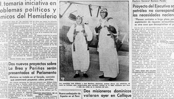 Vista de los religiosos José Aldámiz y José Martínez publicada en El Comercio en 1960. (Foto: GEC Archivo Histórico)