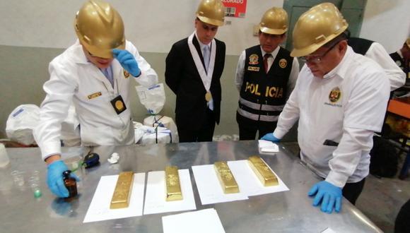 Oro incautado sería proveniente de la minería ilegal y del lavado de activos. (Foto: Difusión)